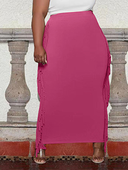 Casual Solid Tassel Plus Size Maxi Skirt