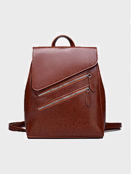 Vintage Pure Color Preppy Travel Backpack For Women