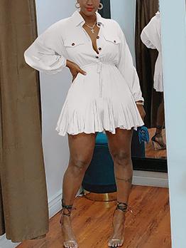 Fashion Sweet Solid Long Sleeve Shirt Dress