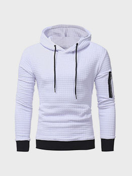 Casual Patch Long Sleeve Hoodie For Men