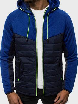 Street Contrast Color Long Sleeve Hoodie Coat