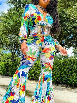 Modern Printed Long Sleeve V Neck Flare Jumpsuit