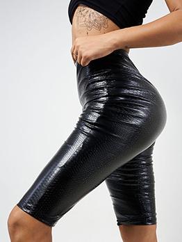 Trendy Plain Black Pu Half Pants