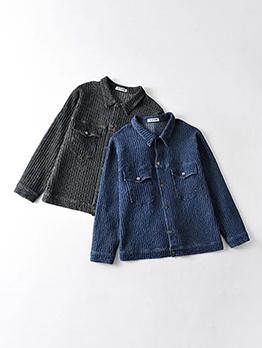 Fashion Solid Pocket Button Up Denim Jacket