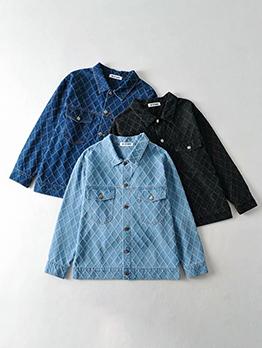 Fall Solid Lattice Long Sleeve Turn-Down Denim Jacket
