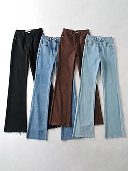 Fashion Pocket Pocket Fringe Edge Women Jeans