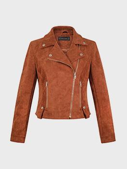 Cool Suede Solid Zip Up Motorcycle Jacket