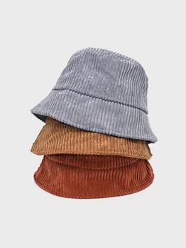 Korean Style Solid Corduroy Warm Bucket Hat