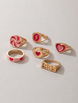 Sweet Heart Letter Snake Shape Ring Set