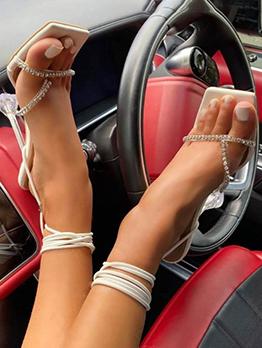 Square Toe Rhinestone Sexy Lace Up Heel Sandals