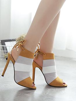 Peep Toe Contrast Color Design Fashion Sandals