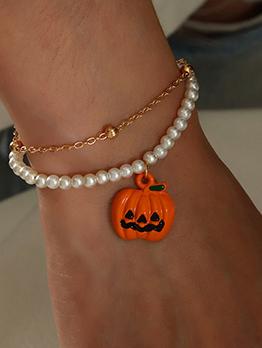 Halloween Pumpkin Faux-Pearl Double Layer Bracelet