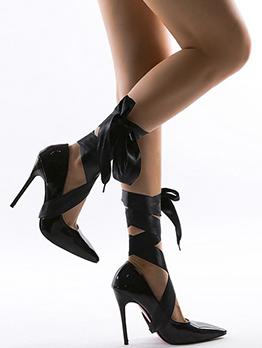 Cross Lace Up Nightclub Wear Black High Heels