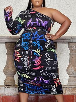 Inclined Shoulder Print Plus Size Dresses Women