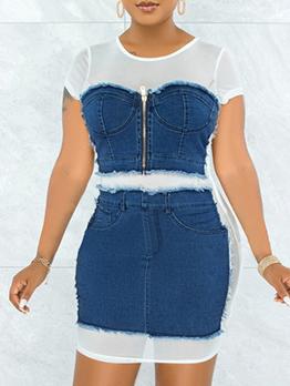 Casual Fashion Patchwork Denim Short Sleeve Dress