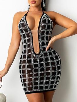 Sexy Backless Rhinestone Halter Short Dress