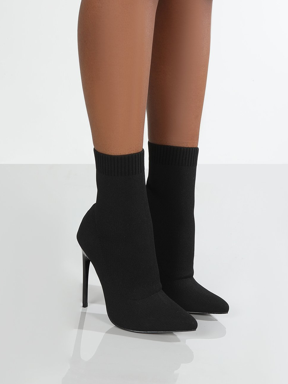 New Point Toe Knitting Stiletto Ankle Boots