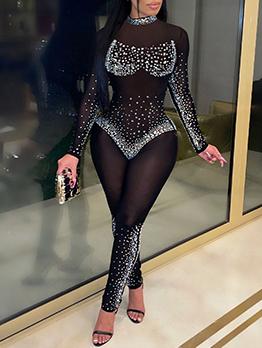 Sexy Gauze Rhinestone Long Sleeve Skinny Jumpsuit