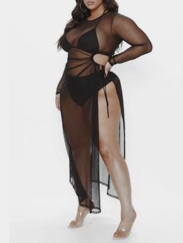 Plus Size Gauze Perspective Black Maxi Dress