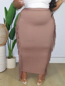 Casual Style Tassel Plus Size Skirt For Women