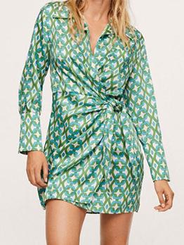 Fashion Geometric Print  Long Sleeve Shirt Dress