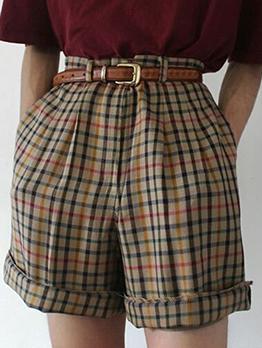 Mid Waist Plaid Vintage Women Summer Short Pants
