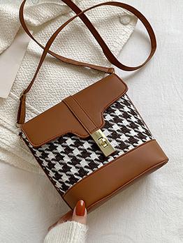 Houndstooth  Contrast Color Twist Lock  Shoulder Bag