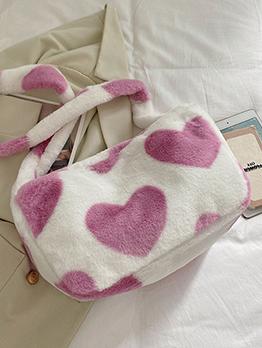 Winter Plush Heart Zipper Shoulder Tote Bag