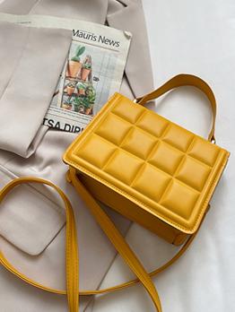 Street Solid Grid Hasp Shoulder Handbag