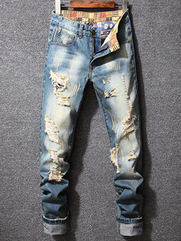 Distressed Hollow Out Design Fashion Men Jeans