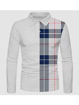 New Contrast Color Plaid Polo Shirts Men
