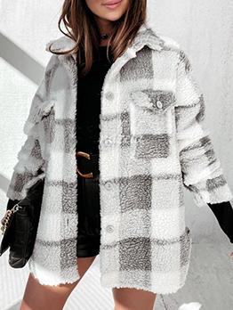 Winter Warmth Plaid Button Down Plush Coat