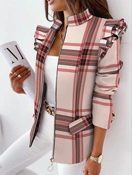 Stylish Plaid Ruffles Sleeve Zipper Blazers