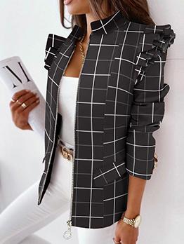 Hot Sale Plaid Long Sleeve Black Blazers