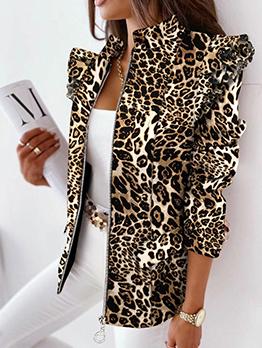 Chic Leopard Printed Ruffles Sleeve Women Blazers