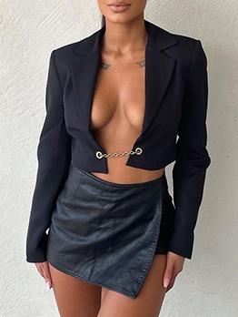 Stylish Plain Navy Cropped Women Blazers