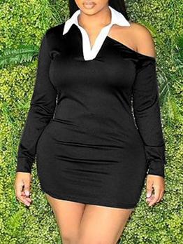 Characteristic Cold Shoulder Long Sleeve Dress