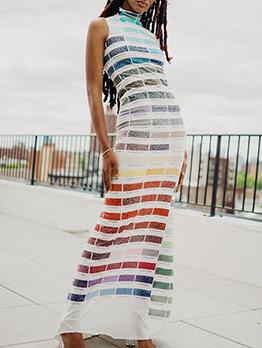 Latest Style Mock Neck Print Sleeveless Maxi Dress
