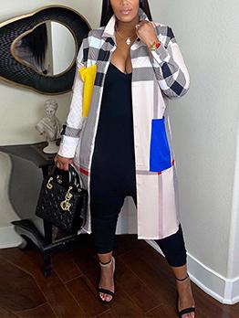 Fashion Contrast Color Plaid Long Coat Women