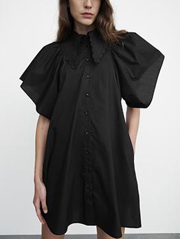 New British Style Short Sleeve Mini Dress