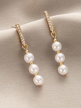 Exquisite Faux-Pearl Rhinestone Long Earrings