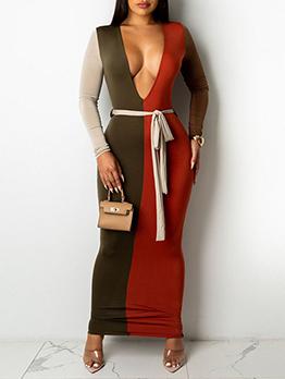 Contrast Color Patchwork Long Sleeve Maxi Dress