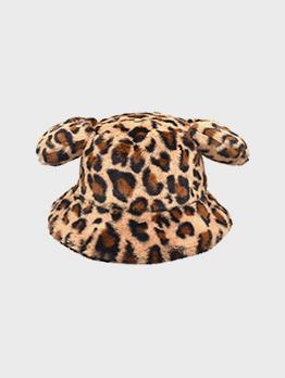 Adorable Leopard Ear Warmth Bucket Cap