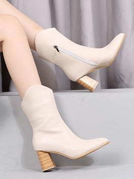 Street Zipper Design Chunky Martin Boots