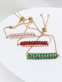 Bonzer Leaf Rhinestone Adjustable Bracelet