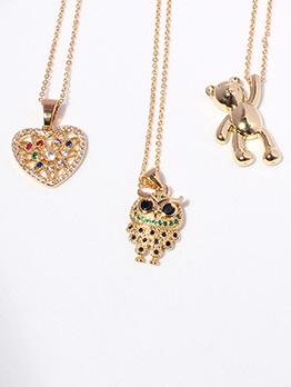 Adorable Bear Owl Rhinestone Heart Necklaces