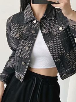 Cool Plaid Pocket Long Sleeve Denim Jacket