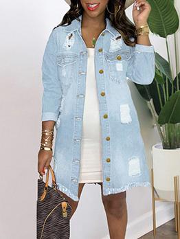Fashion Hip Hop Patchwork Denim Long Coat