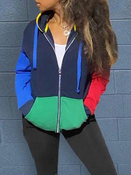 Contrast Color Hooded Collar Casual Women Coat