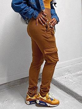Trendy Street Pure Color Pockets Long Pants